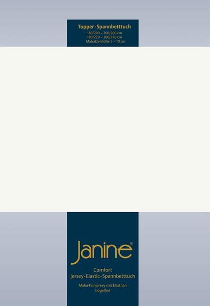 Janine Jersey Elastic Spannbetttuch für Topper Matratzen ideale Passform 09 ecru