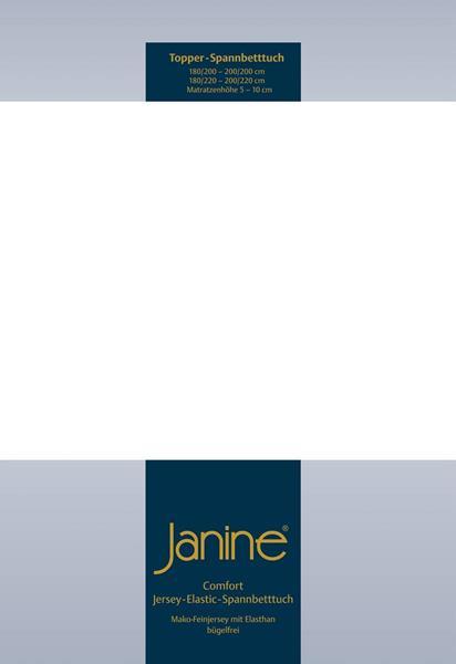Janine Jersey Elastic Spannbetttuch für Topper Matratzen 150x200 cm 10 weiß