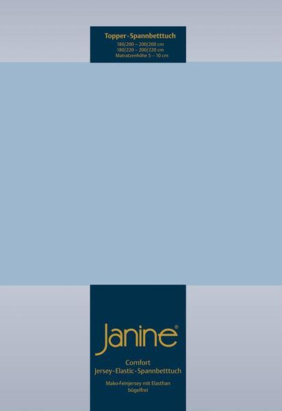 Janine Jersey Elastic Spannbetttuch für Topper Matratzen 150x200 cm 32 perlblau
