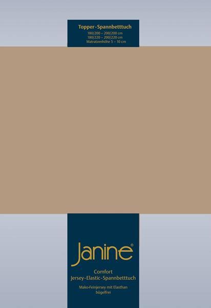 Janine Jersey Elastic Spannbetttuch für Topper Matratzen 200x200 cm 37 nougat