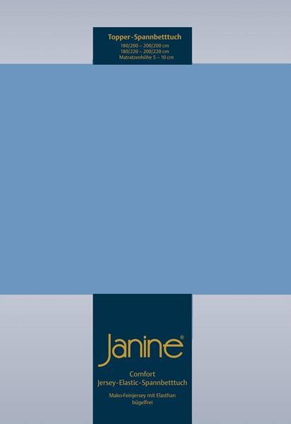 Janine Jersey Elastic Spannbetttuch für Topper Matratzen ideale Passform 42 blau