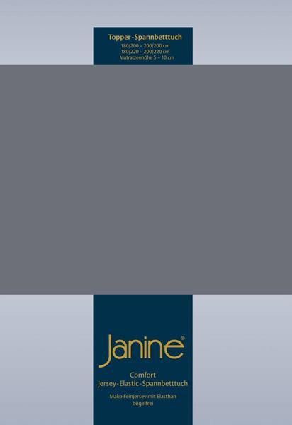 Janine Jersey Elastic Spannbetttuch für Topper Matratzen 150x200 cm 48 opalgrau