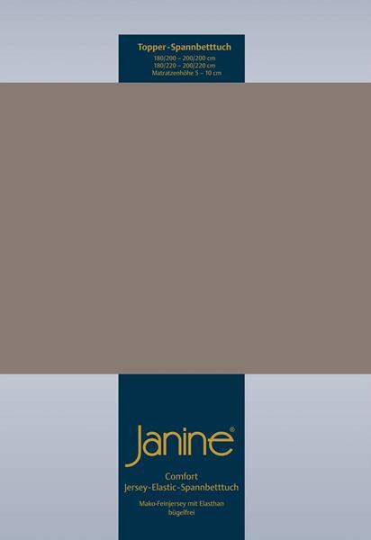 Janine Jersey Elastic Spannbetttuch für Topper Matratzen 150x200 cm 57 taupe