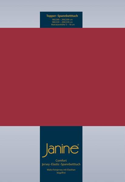 Janine Jersey Elastic Spannbetttuch für Topper Matratzen 200x200 cm 71 granat