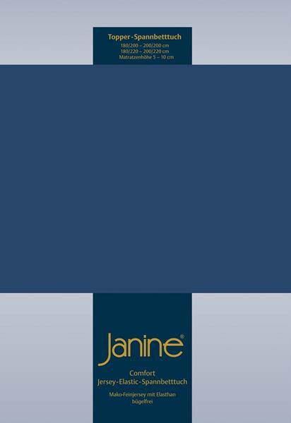 Janine Jersey Elastic Spannbetttuch für Topper Matratzen ideale Passform 82 marine