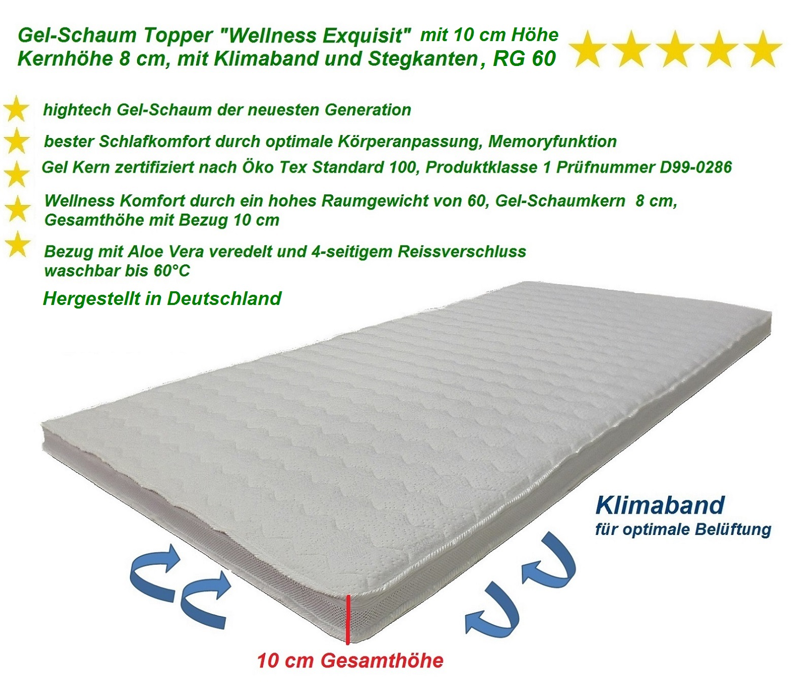 Wellness Exquisit Gel-Schaum Topper Matratzenauflage 10 cm Gesamthöhe RG 60