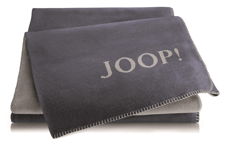JOOP! Melange Doubleface Wohn- Kuscheldecke 150x200 cm Marine-Graphit 739247