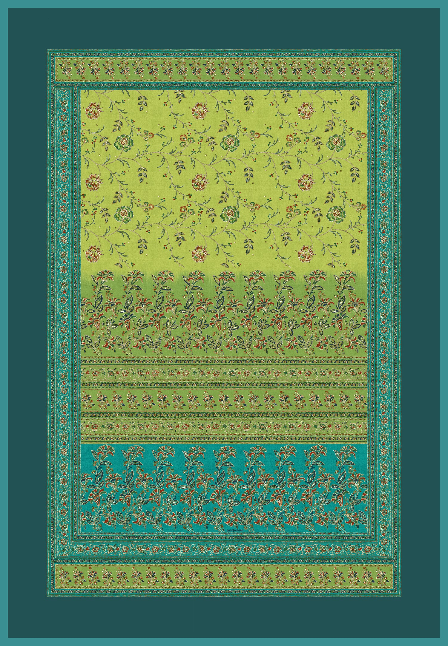bassetti Granfoulard Plaid Montefano V1 Grün Verde 135x190 cm Kollektionswechsel Sale